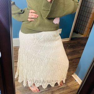 Westport 1962 crocheted ivory Maxi skirt NWT